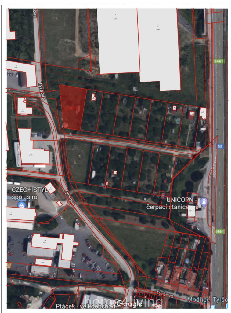 Prodej stavebního pozemku 1365 m2, ul. Tyršova, Brno - Modřice